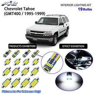 19 Bulbs Cool White LED Interior Light Kit For 1995-1999 GMT400 Chevrolet Tahoe