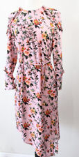 Topshop Floral Midi Dress sz 6 Womens Feminine Wedding Birds Sleeves Pink