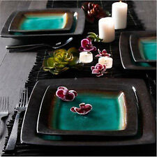 16-piece Kitchen Dining Set Plates Bowls Stoneware Dishes Round Blue Turquoise