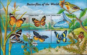 MODERN GEMS - Sierra Leone - Butterflies of the World II - Sheet of 6 - MNH