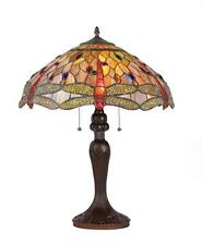 """Stained Glass Chloe Lighting Dragonfly 3 Light Table Lamp 18"""" Shade Handcrafted"""