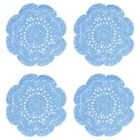 8 Inch Doilies Crochet Round Lace Blue Handmade Cotton Coasters, Pack Of 4