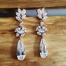 Bridal Rose Gold Drop CZ Earrings Pierced