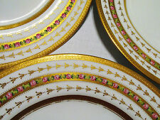 SPODE COPELAND 6 DINNER PLATES STERN BROTHER'S NEW YORK GOLD TRIM FLOWERS #3152