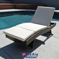 Pool Rattan Chaise Lounge Chair Outdoor Patio Sun Bed Recliner Furniture Cushion