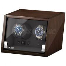 Original Beco Uhrenbeweger Boxy Castle LED Beleuchtung für 2 Uhren Walnuss matt