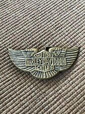 Harley Davidson Motorcycle Wing Shield Biker Brass Belt Buckle NE296 70s Montauk