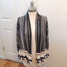 Zara Open Kimono Jacket Striped Tassels Crochet Beaded Size M