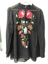 Zara Sheer Black Blouse With Floral Embroidery Size M