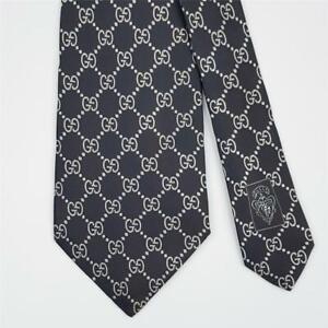 GUCCI TIE GG Guccissima in Black Classic Woven Silk Necktie