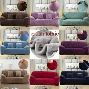 Plush thick sofa cover elastic for living room velvet dust-proof slipcovers