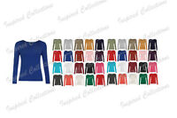 Womens Plain Tshirt Ladies Long Sleeve Scoop Neck  Top Plus Sizes