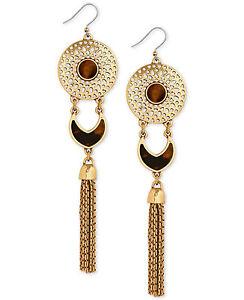 Lucky Brand Gold-Tone Tortoiseshell-Look Disc and Tassel Drop Earrings