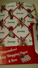 Personalized gift wrap wrapping Christmas xmas NIP Jeremy stockings candy cane