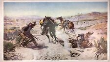 "Vintage Charles M. Russell Print ""The Cinch Ring"" Reproduced by Brown & Bigelow"