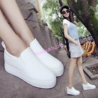 Womens Slip On Patform Canvas Hidden Wedge Heels Sneakers Sport Shoes Creeper