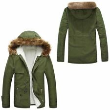 Winter Mens Fur Collar Coat Thicken Jacket Hooded Warm Parka Down Cotton Outwear