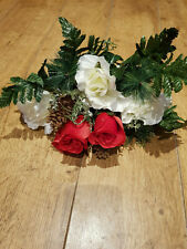 ARTIFICIAL SILK FLOWERS CHRISTMAS RED & WHITE ROSES HOLLY GOLD FIR CONES BUNCH