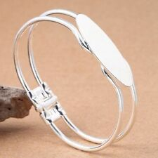 1pc Silver Plated Cabochon Oval Setting Bezel Blank Base Bangle Bracelet Dis