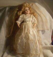 """*Must See* Gorgeous Porcelain 17"""" Bride Doll with Stand #0290"""