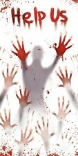 "60"" Zombie Hanging Door Cover Bloody Help Us Scary Halloween Decoration Decor"
