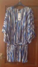 Ladies Blue & White Printed Kaftan Size S F&F NWT