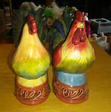 ROOSTER Salt & Pepper Shakers Rust Green Yellow Ceramic 5in Figures CB Brand