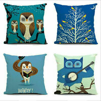 Cartoon Owl Cotton Linen Pillow Case Sofa Waist Cushion Cover Car Decor 18""
