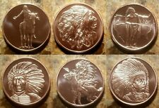 Native American Indians - Set of Six 1oz. Pure Copper Bullion Rounds!!