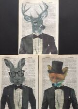 Stag Hare Fox Prints Vintage Dictionary Page Wall Art Picture Animals In Clothes