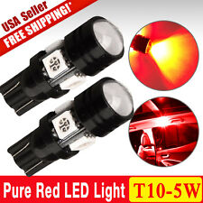 2x T10 High Power 5W Pure Red LED Backup Reverse Light Bulbs Projectors W5W