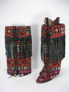 BR BOOT RUGS MULTI-COLOR COTTON BLEND LEATHER FRINGES WESTERN BOOT COVER