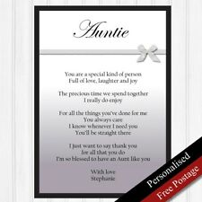 Auntie Gift. Personalised Birthday Gift for Aunt.Keepsake Poem Auntie PRINT ONLY