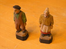 Two Miniature Antique Quebec Folk Art Wood Sculptures Andre Bourgault