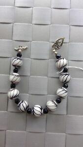 White & Black Glass Black Onyx Sterling Silver Bracelet with 925 Clasp
