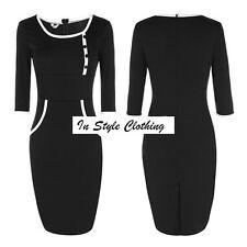 """""""KALINDA"""" BEAUTIFUL LADIES SIZE 10-12 BLACK WHITE STRETCH PENCIL DRESS WORK ETC"""
