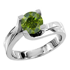1 Carat Green SI3-I1 Round Diamond Solitaire Wedding Bridal Ring 14K White Gold