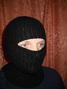 hand knit wool sweater balaclava mask one size