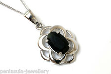 """9ct White Gold Celtic Sapphire Pendant and 18"""" Chain Made in UK Gift Boxed"""