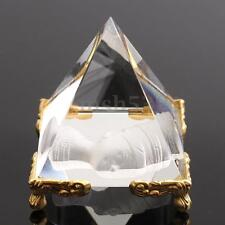 2inch Pharaoh Crystal Pyramid Egypt Clear Quartz Stone Table Decor+Golden Stand