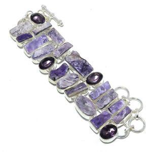 """Charoite - Siberia & Amethyst- 925 Sterling Silver Ethnic Bracelet 7-7.99"""" S2647"""