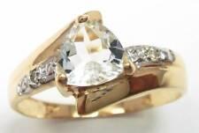 SYJEWELRYEMPIRE 10KT YELLOW GOLD AQUAMARINE & DIAMOND RING SIZE  7       R1144