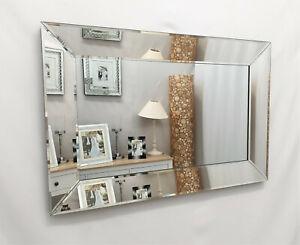 Mulan Modern Art Deco Plain Glass Design Bevelled Wall Mirror 100x70cm Silver
