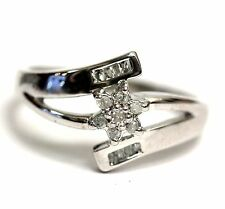 10k white gold SI1 H woman diamond .15ct cluster ring 2.9g vintage estate