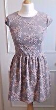 TOPSHOP DRESS Pink Rose Printed Jacquard Skater Dress Size 8 XS
