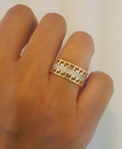 8.5 mm Men's Wedding Band Round Cut Diamond Greek Key Ring 14k Yellow Gold