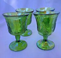 Indiana Glass 4 Iridescent Lime Green Carnival Harvest Grape Goblets Vintage