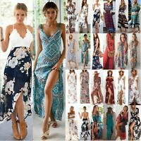 Womens Floral Boho Long Maxi Dress Summer Beach Party Casual Cocktail Sundress