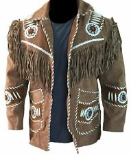 Best Western Style Real Suede Leather Brown Jacket, Fringes Beads & Bones-4