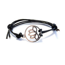 Lotus Flower Leather Friendship Bracelet,Boho,Bohemian,Flower,Rock,Metal,